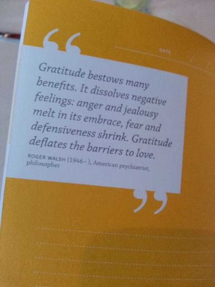 "A look inside at one of the inspirational quotes in ""Gratitude: A Journal"" by Catherine Price. Photo: Emily Spicer, San Antonio Express-News"