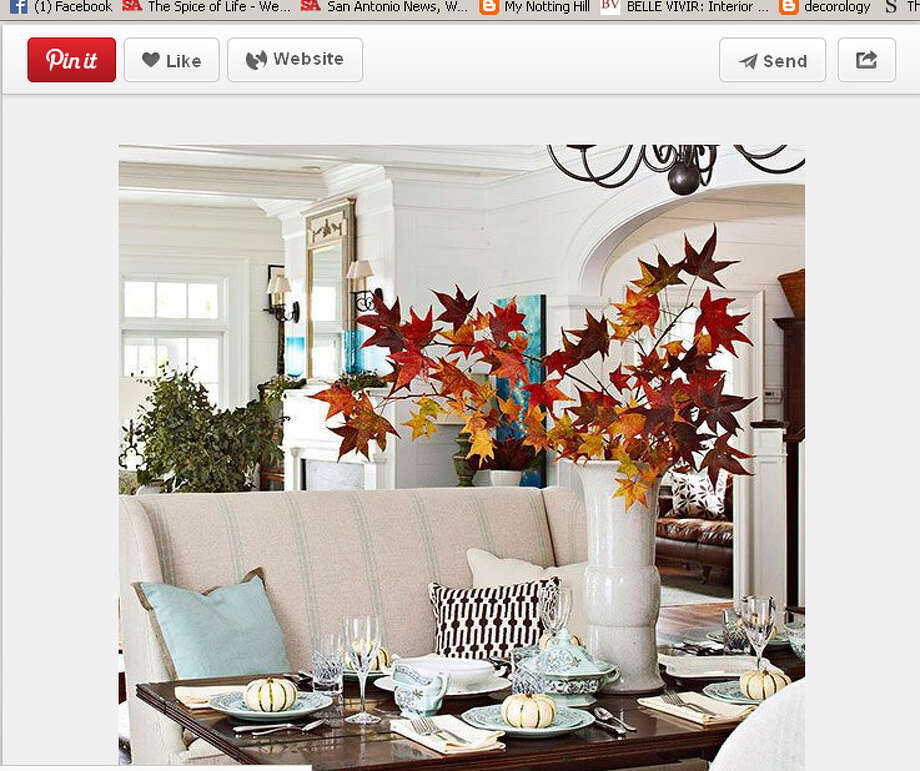 Try bringing fall leaves inside for a simple floral alternative. Photo: Screengrab From Pinterest.com