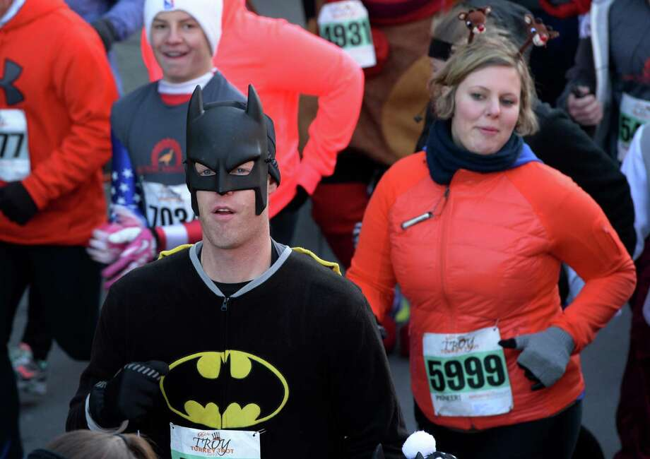There were a number of unusual costumes Thursday Nov. 28, 2013,  in  the Troy Turkey Trot 5K  in Troy, N.Y.   (Skip Dickstein/Times Union) Photo: SKIP DICKSTEIN / 00024785A