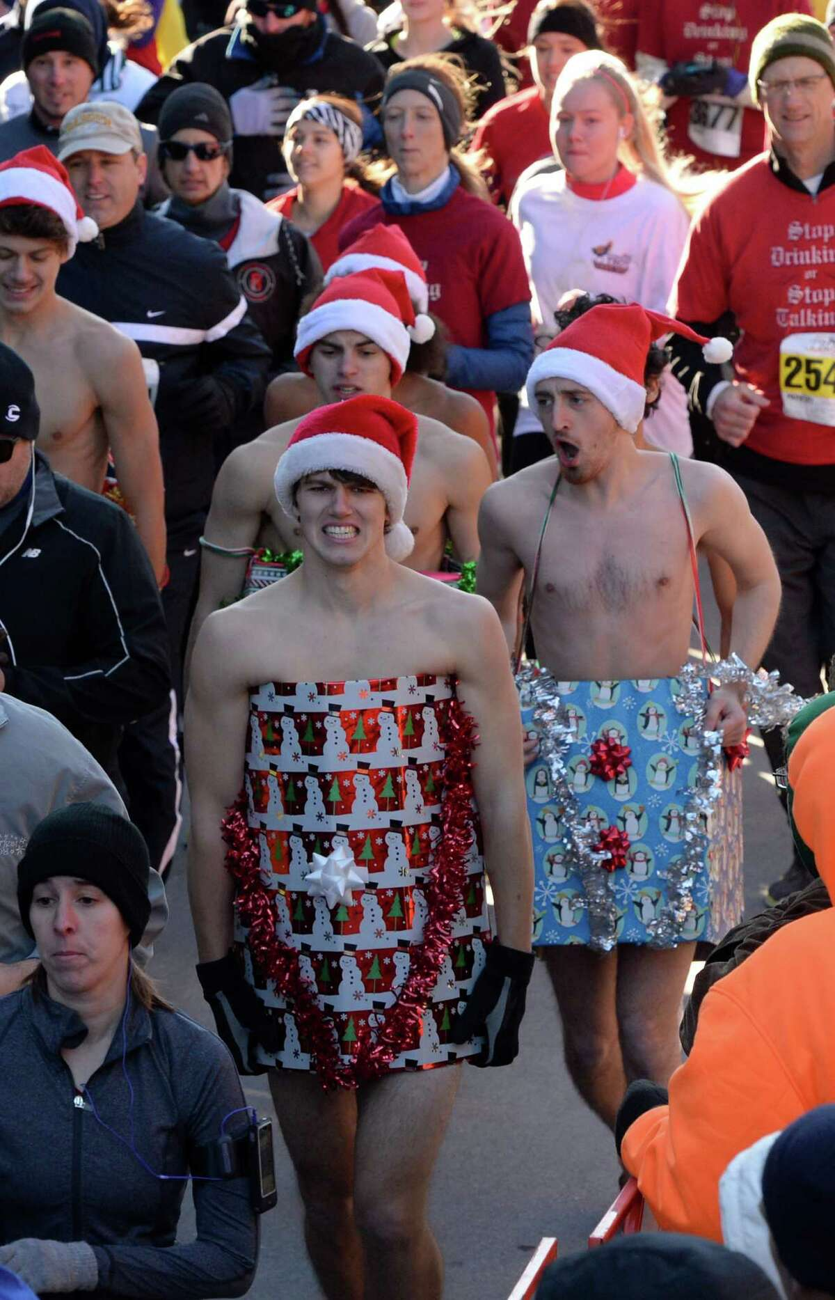 There were a number of unusual costumes Thursday Nov. 28, 2013, in the Troy Turkey Trot 5K in Troy, N.Y. (Skip Dickstein/Times Union)