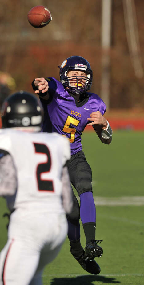 Westhill quarterback Ryan Coppola throws the ball during their game against Stamford at Westhill High School in Stamford, Conn., on Thanksgiving Day, Thursday, Nov. 28, 2013. Westhill beat Stamford, 40-0 to win the City Championship. Photo: Jason Rearick / Stamford Advocate