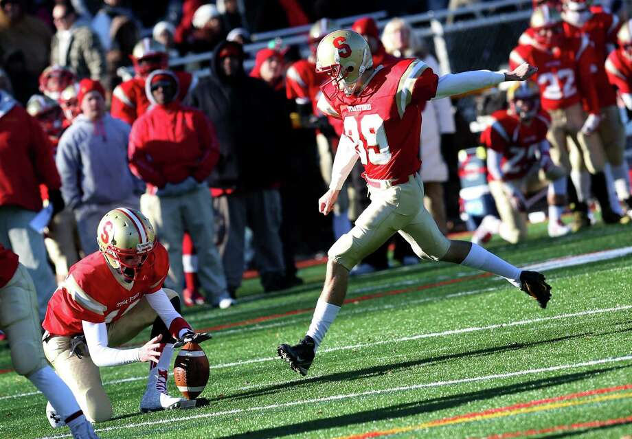 Stratford High School's #39 Jackson Bonazzo sucessfully kicks a field goal to allow Stratford to take the lead against Bunnell High School during Thursday's Thanksgiving match-up. Bunnell would win 12-10. Photo: Mike Ross / Mike Ross Connecticut Post freelance - @www.mikerossphoto.com
