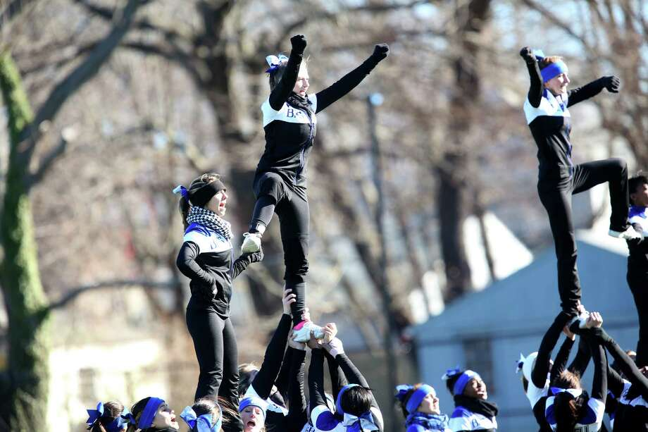Bunnell High School's cheerleaders squad perform during half time during Thursday's Thanksgiving match-up against Stratford High Schoo and  Bunnell High School. Photo: Mike Ross / Mike Ross Connecticut Post freelance - @www.mikerossphoto.com