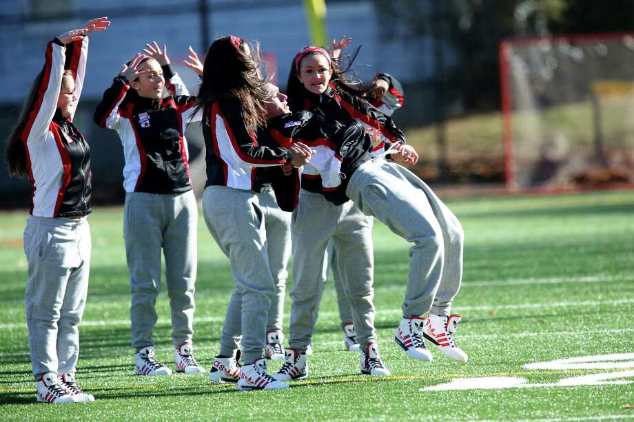 Stratford High School's cheerleaders / dnace squad perform during half time during Thursday's Thanksgiving football match-up against Stratford High Schoo and Bunnell High School. Photo: Mike Ross / Mike Ross Connecticut Post freelance - @www.mikerossphoto.com