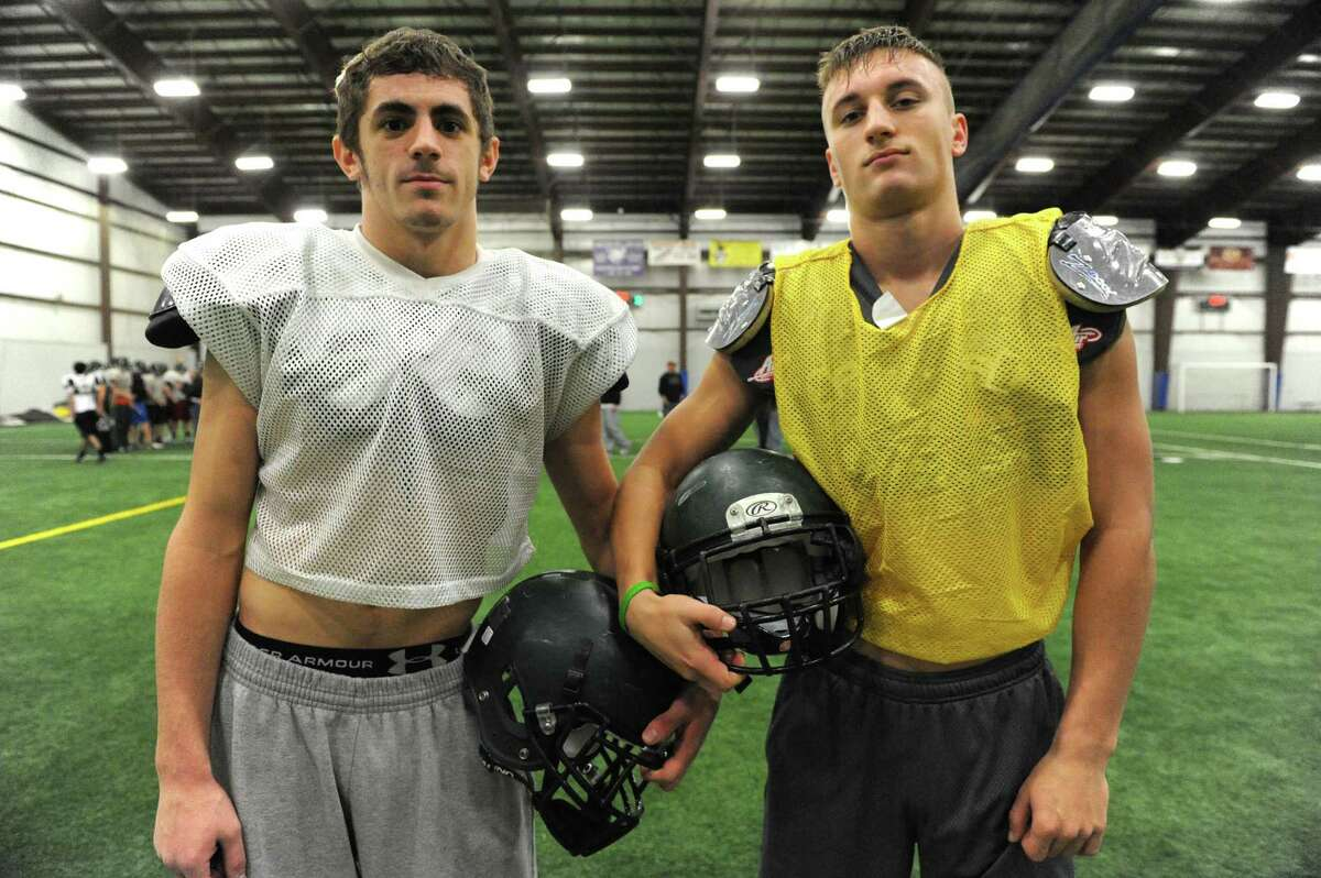 Schalmont High School football receivers Hunter Gac, left, and Kyle Strube during practice at the Halfmoon Sportsplex on Wednesday Nov. 27, 2013 in Halfmoon, N.Y. (Michael P. Farrell/Times Union)