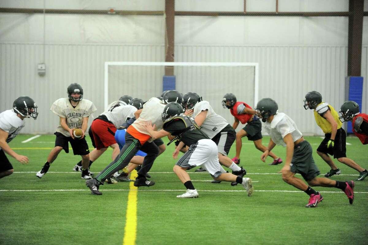 The Schalmont High School football team practices at the Halfmoon Sportsplex on Wednesday Nov. 27, 2013 in Halfmoon, N.Y. (Michael P. Farrell/Times Union)