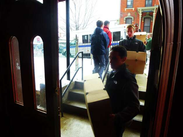 On Tuesday, La Salle Institute?s Student Senate delivered Thanksgiving food and food items, including turkeys, to the Unity Church in Cohoes for 100 needy families, part of an annual tradition at the school.(Provided photo)
