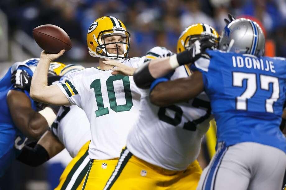 Packers quarterback Matt Flynn (10) passes. Photo: Rick Osentoski, Associated Press