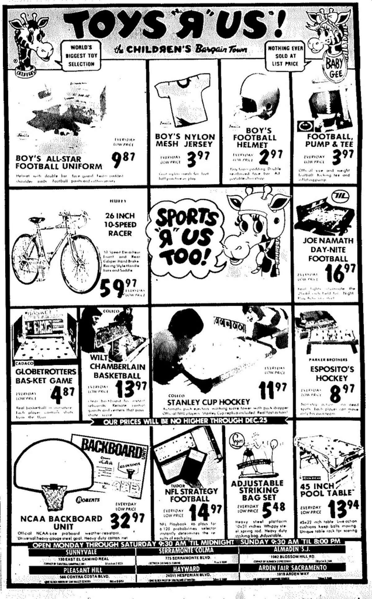 Toys R Us ad from Black Friday in 1973.