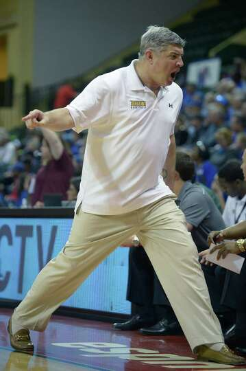 Siena head coach Jimmy Patsos reacts to a play during the first half of an NCAA college basketball g