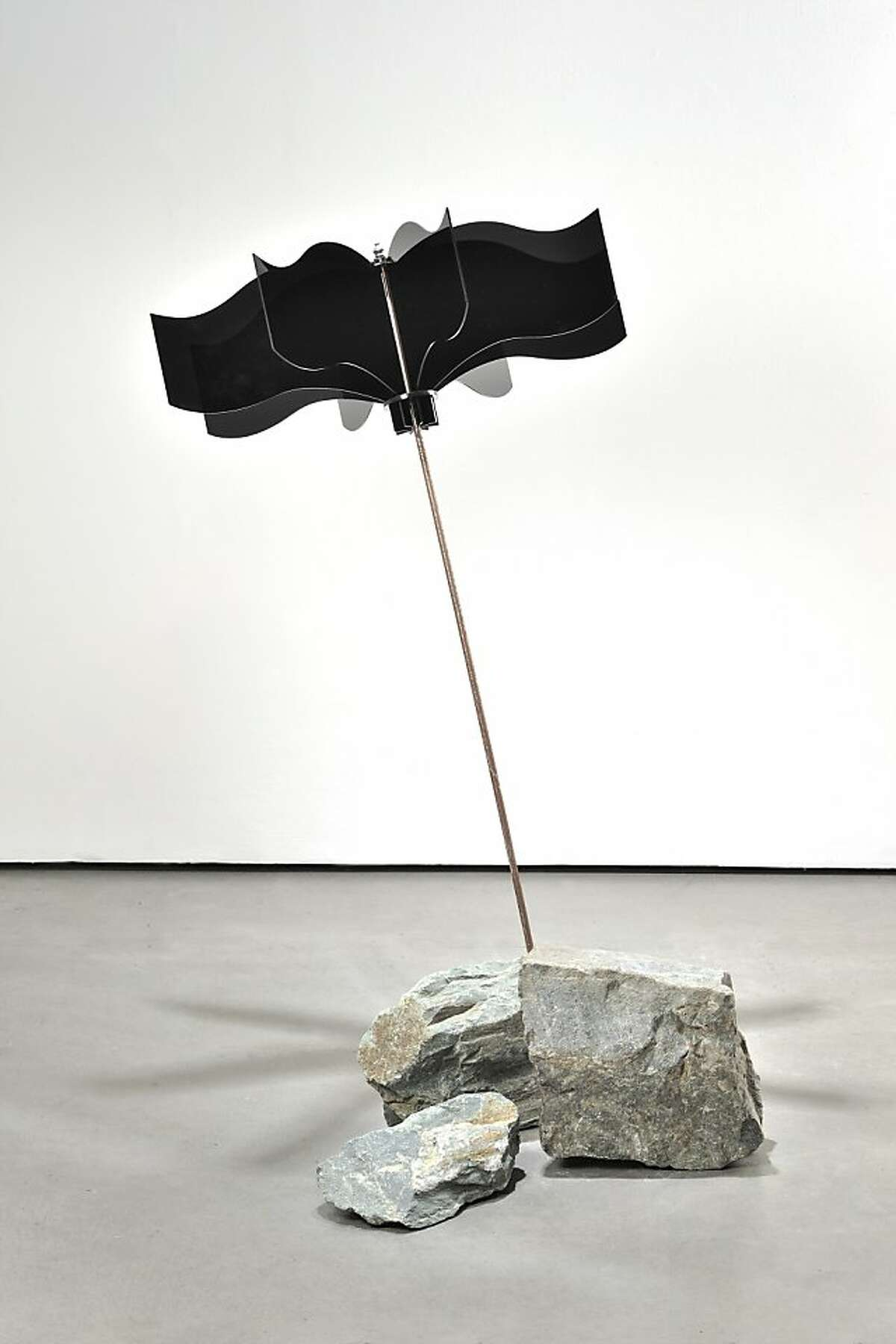 Leah Markos' Brella Black acylic, steel, stone46 h x 30 diameter width 2013