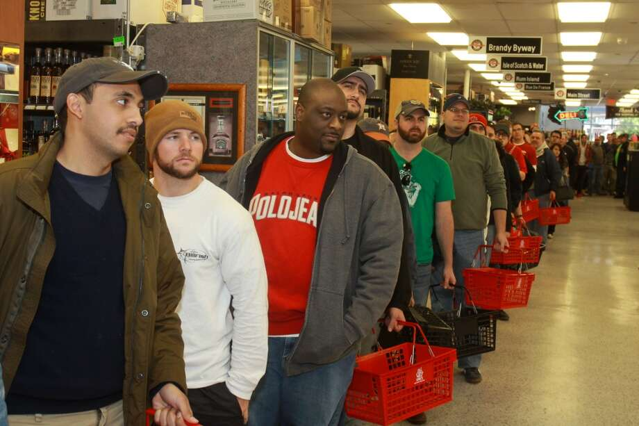 PHOTOS: Black Friday in Houston ...The line inside Spec's Wines, Spirits and Beer on Smith Street. Spec's was releasing a first-time-in-Texas beer called Bourbon County Brand Stout, from Goose Island Beer Co. Photo: Gary Fountain, For The Chronicle