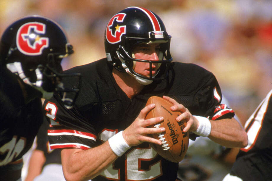 JIM KELLY: U.S. PRO SINGLE-GAME PASSING YARDSDuring his brief Houston Gamblers stint, the Pro Football Hall of Famer set the record for passing yards in a U.S. pro football game with 574 in the 1985 season-opening win at Los Angeles. Photo: Andrew D. Bernstein, Getty Images / 1984 Andrew D. Bernstein