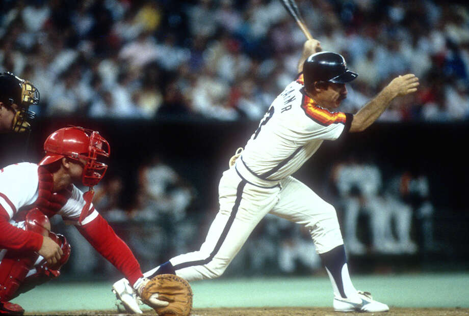 Phil Garner #3 of the Houston Astros bats against the Cincinnati Reds during an Major League Baseball game circa 1985 at Riverfront Stadium in Cincinnati, Ohio. Garner played for the Astros from 1981-87. (Photo by Focus on Sport/Getty Images) Photo: Focus On Sport, Getty Images / 1985 Focus on Sport