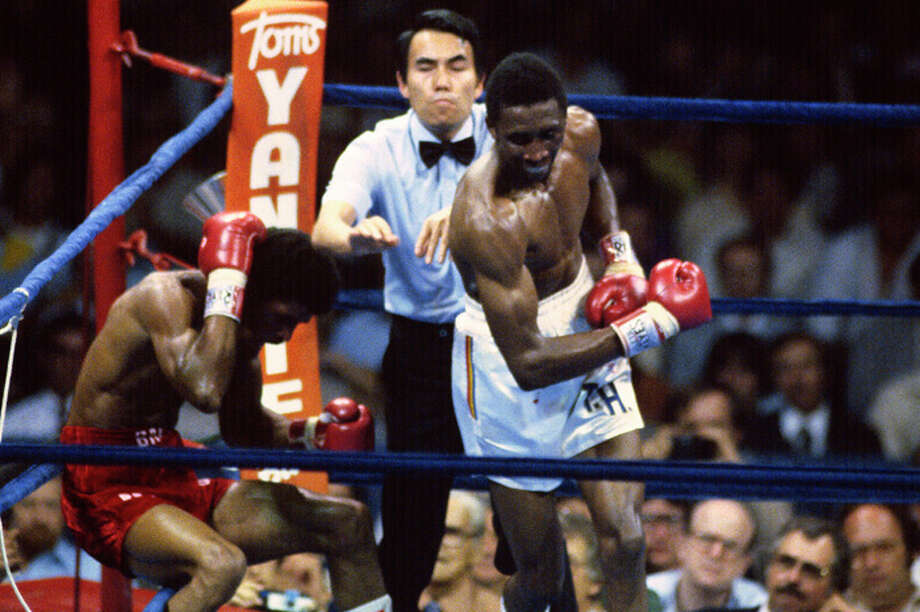 Welterweight fighter Thomas Hearns, right, fights Pablo Baez, left, in a scheduled fifteen round WBA welterweight title fight June 25, 1981 at the Astrodome in Houston, Texas. Hearns won the fight by TKO in the fourth round. (Photo by Focus on Sport/Getty Images) Photo: Focus On Sport, Getty Images / 1981 Focus on Sport