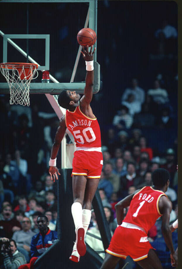 Ralph Sampson #50 of the Houston Rockets grabs a rebound against the Washington Bullets during an NBA basketball game circa 1984 at the Capital Centre in Landover, Maryland. Sampson played for the Rockets from 1984-87.  Photo: Focus On Sport, Getty Images / 1984 Focus on Sport