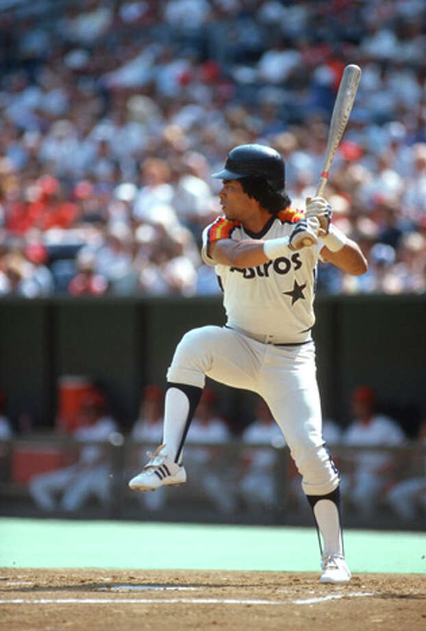 Outfielder Jose Cruz #25 of the Houston Astros bats against the Cincinnati Reds during an Major League Baseball game circa 1980 at Riverfront Stadium in Cincinnati, Ohio. Cruz played for the Astros  from 1975-87. (Photo by Focus on Sport/Getty Images) Photo: Focus On Sport, Getty Images / 1980 Focus on Sport