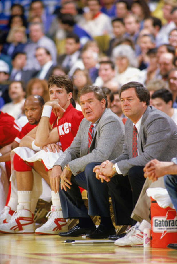 Head coach Bill Fitch of the Houston Rocket looks on from the bench during a game in the 1987-88 season.  Photo: Rick Stewart, Getty Images / 1987 Getty Images