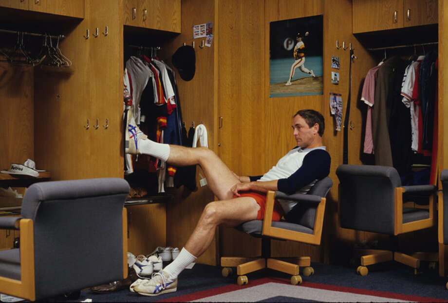 Nolan Ryan #34 of the Houston Astros in front of his locker in September 1986 in Alvin, Texas.  (Photo by Ronald C. Modra/Sports Imagery/Getty Images) Photo: Ronald C. Modra/Sports Imagery, Getty Images / 1986 Ronald C. Modra/Sports Imagery