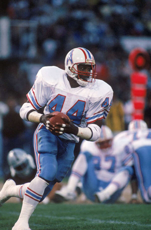 Running back Lorenzo White #44 of the Houston Oilers runs the ball against the Los Angeles Raiders during a preseason game on August 26, 1989 in Oakland, California.  The Oilers won 23-21.  (Photo by George Rose/Getty Images) Photo: George Rose, Getty Images / 1989 Getty Images
