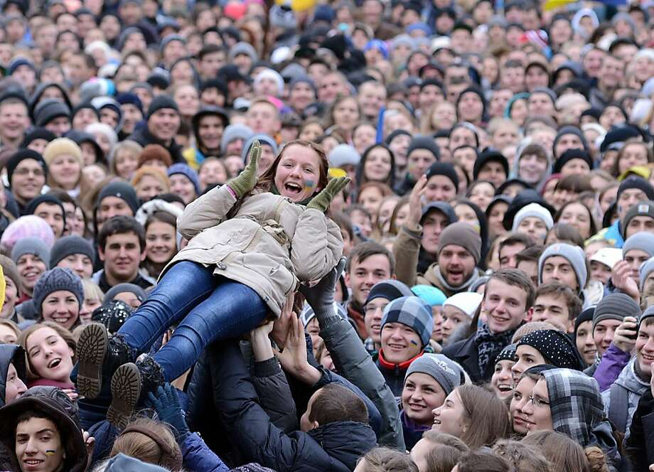 Student body lift:In Lviv, Ukrainian students rally for their country to join political and trade agreements with the European Union. An EU summit to cap years of effort to bring ex-Soviet states into the Western fold was dealt a blow when Ukraine, the biggest prize, caved at the last moment under Russian pressure. Photo: Yuriy Dyachyshyn, AFP/Getty Images