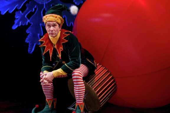 Todd Waite (cq) is playing Crumpet, a disgruntled elf, in the play The SantaLand (CQ) Diaries in the Hugo Neuhaus Stage in Alley Theatre. Crumpet, photographed Tuesday, Dec. 2, 2008, in Houston, is a one ma play which will begin Dec. 2, 2008.( Nick de la Torre / CHRONICLE )