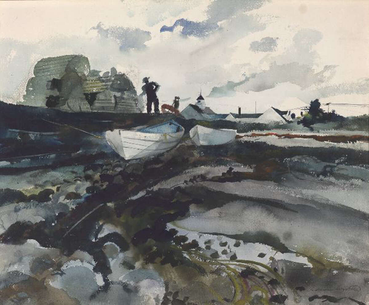 """Andrew Wyeth's """"Cook's Wharf"""" (1940, watercolor on paper) is among works on exhibit at Meredith Long & Company Dec. 5 - Jan. 19."""