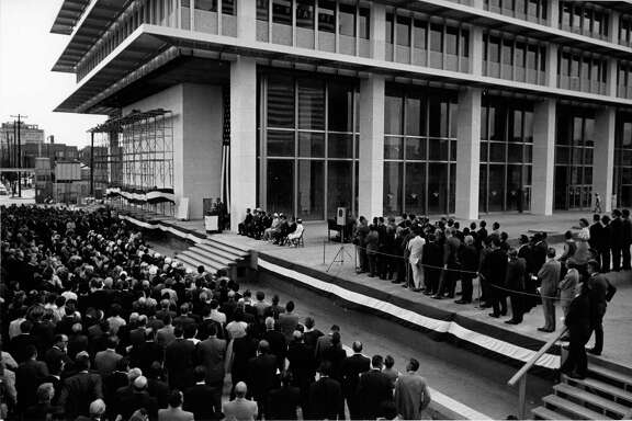 08/24/1962 - The corner stone-setting dedication ceremonies for the new 44-story Humble Building, home office of the Humble Oil and Refining Co. Principal speakers at the ceremony were Houston Mayor Lewis Cutrer, Humble's president Carl E. Reistle Jr. and Morgan J. Davis, Humble Oil board chairman and chief executive officer. Humble Oil expects to move into the new structure late next month.