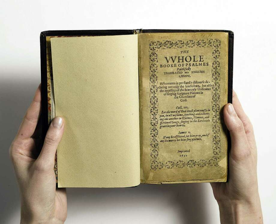 The Bay Psalm Book was translated and printed in 1640 by the Congregationalist Puritans who left England in search of religious freedom. Photo: RNS / Photo Courtesy SothebyÇÖs New Y