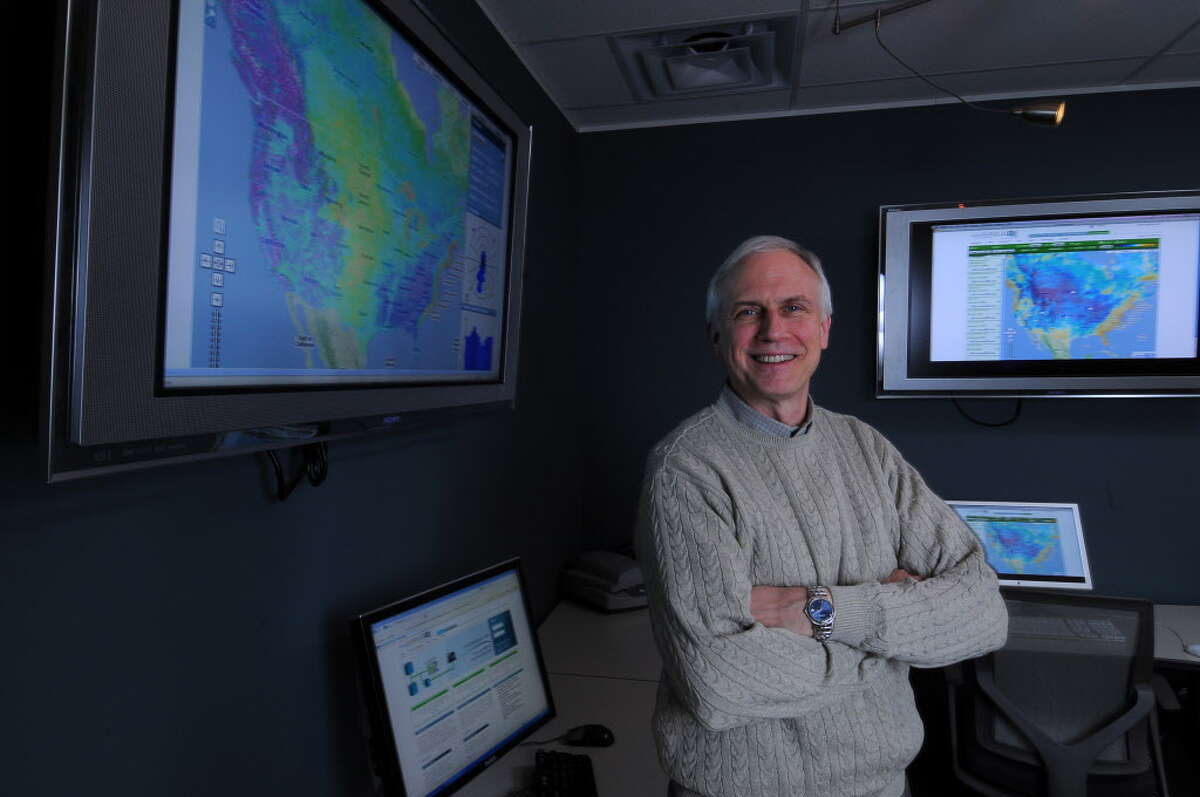 Bruce H. Bailey, Ph.D., President and CEO of AWS TruePower, a company that does wind forecasting for wind turbine projects, in his company's media room in Albany, NY on Thursday December 16, 2010. ( Philip Kamrass / Times Union )