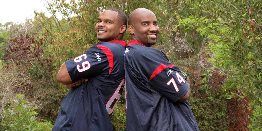 Former Texans players Chester Pitts, left, and Ephraim Salaam were put to a different test on the CBS show that sends contestants on a race across the globe. But the duo fell short in the third episode and got eliminated. Yet another disappointment for Texans fans. / ©2013 CBS Broadcasting, Inc. All Rights Reserved.