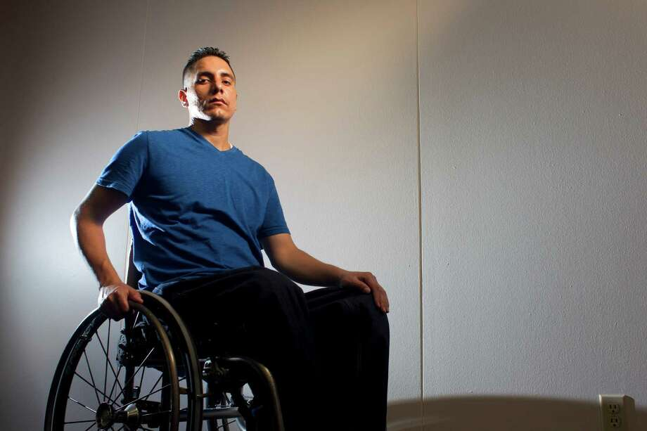 Portrait of Ricardo Salazar, 27, a father of three who will spend the rest of his life in a wheelchair after he was shot in the back by an HPD officer who stopped him for speeding on the Southwest Freeway Tuesday, June 4, 2013, in Houston.  The officer suspected Salazar had been drinking, and ordered him to the rear of the pickup he was driving. There was a brief confrontation, and the construction worker turned his back on the officer and was walking to his truck when the officer shot him once in the back. Salazar has filed a lawsuit against the city of Houston for violation of his civil rights and using excessive force.  ( Johnny Hanson / Houston Chronicle ) Photo: Johnny Hanson, Staff / © 2013  Houston Chronicle