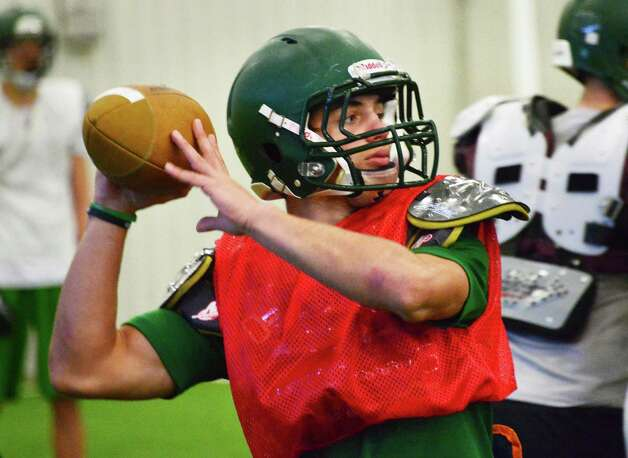 Schalmont quarterback Nick Gallo during practice Friday at the Halmoon Sportsplex in Halfmoon, NY.   (John Carl D'Annibale / Times Union) Photo: John Carl D'Annibale / 00024838A