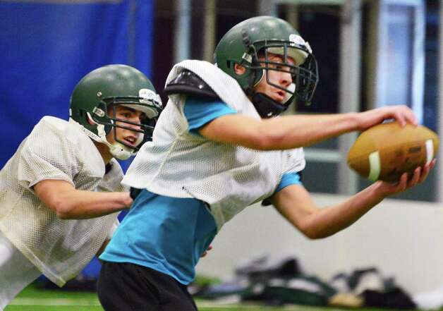 Schalmont's Anthony Bellai, left, and Hunter Gac during practice Friday at the Halmoon Sportsplex in Halfmoon, NY.   (John Carl D'Annibale / Times Union) Photo: John Carl D'Annibale / 00024838A