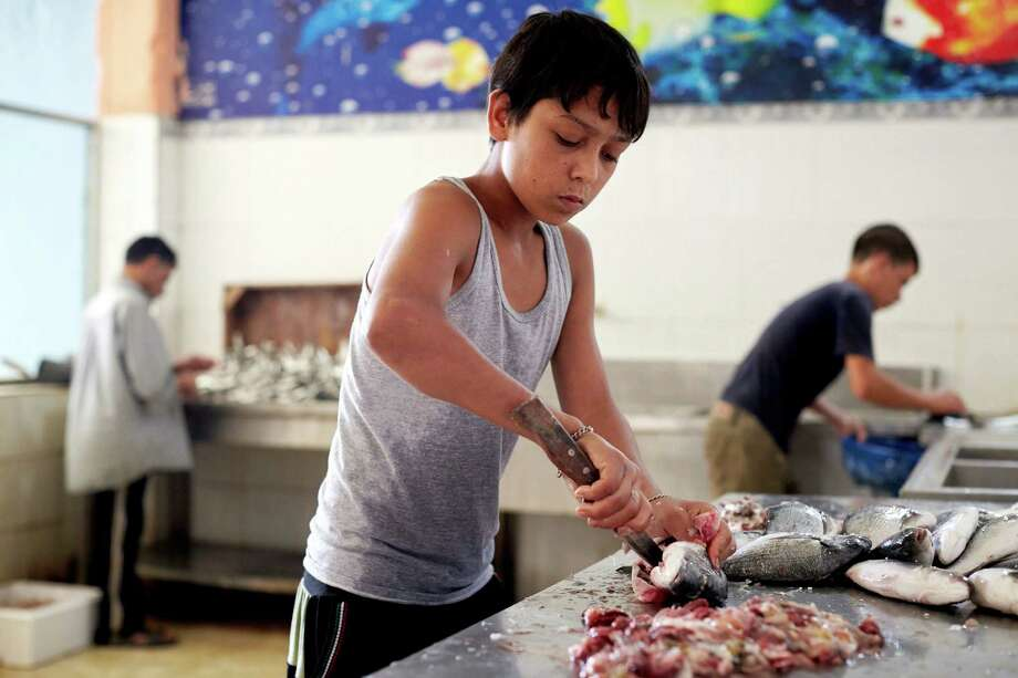 A Syrian refugee boy, Mahmoud, 15, hasn't been to school in three years and now makes money cleaning fish in exchange for tips at a small shop next to his home in Lebanon. Photo: Shawn Baldwin / Associated Press