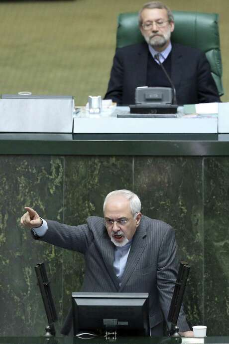 Iranian Foreign Minister Mohammad Javad Zarif, speaking in Tehran in the parliament this week, says his country and Israel will attend no meetings together. Photo: Ebrahim Noroozi / Associated Press