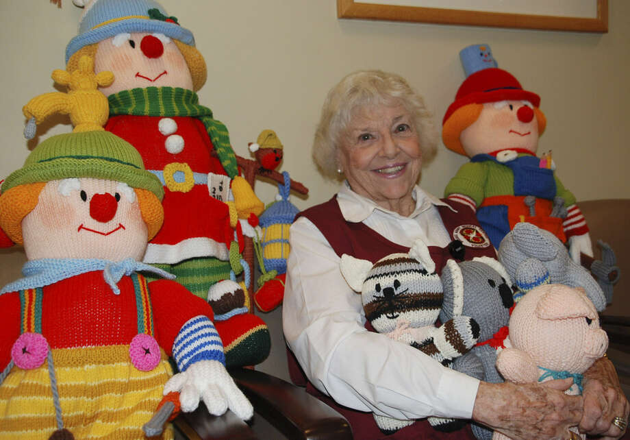 Shirley Adcock, a Brooke Army Medical Center volunteer, knits toys for children in the hematology/oncology unit. Photo: Courtesy Photo
