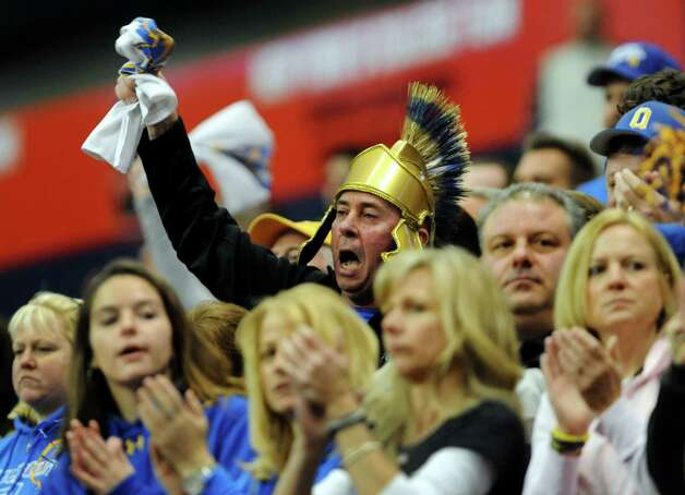 Queensbury fans cheer on their team during their Class A state football final against Williamsville North on Friday, Nov. 29, 2013, at the Carrier Dome in Syracuse, N.Y. (Cindy Schultz / Times Union) Photo: Cindy Schultz / 00024836A