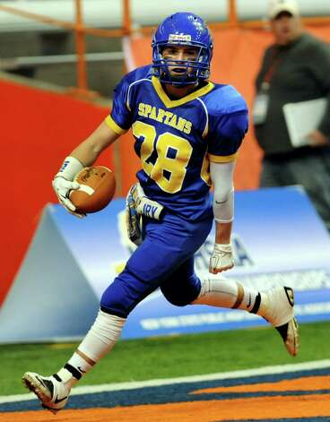Queensbury's Kody Bruno scores a touchdown during their Class A state football final against Williamsville North on Friday, Nov. 29, 2013, at the Carrier Dome in Syracuse, N.Y. (Cindy Schultz / Times Union) Photo: Cindy Schultz / 00024836A