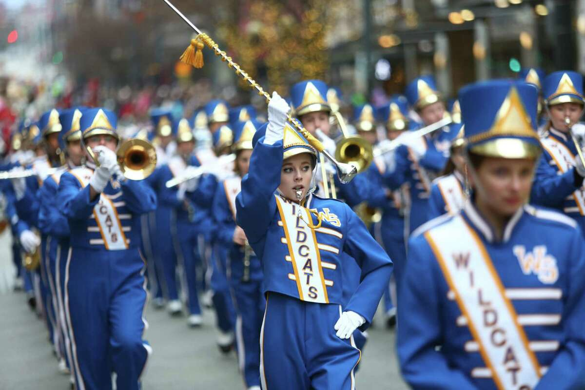 Members of the West Seattle High School Wildcat marching band perform during the annual Macy's Holiday Parade. Photographed on Friday, Nov. 29, 2013 in downtown Seattle.