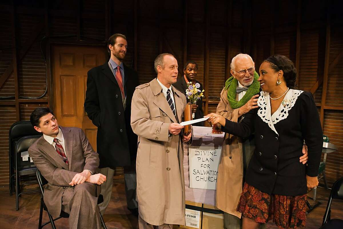 At the church's first service, loan officer Reed (Rod Gnapp, center) settles a problem with Ethan (Ray Reinhardt) and wife Jessie (Gloria Weinstock, right), observed by Borough President Donaldo (Gabriel Marin, left), banker Tom (Derek Fischer) and pastor Chester (Carl Lumbly, rear) in