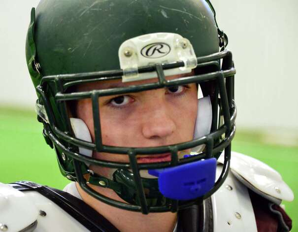 Schalmont football's Austin Wetsel during practice Friday at the Halmoon Sportsplex in Halfmoon, NY.   (John Carl D'Annibale / Times Union) Photo: John Carl D'Annibale / 00024838A