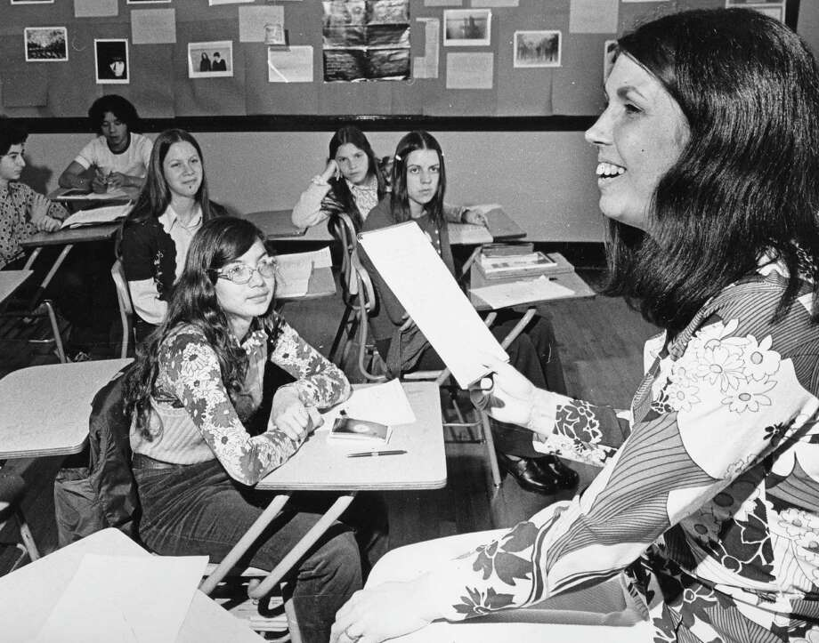It's always nice when your outfit matches that of your teacher's. (Margaret Hodge, left, a poet-in-residence, is pictured at Franklin in 1973).  Photo: -