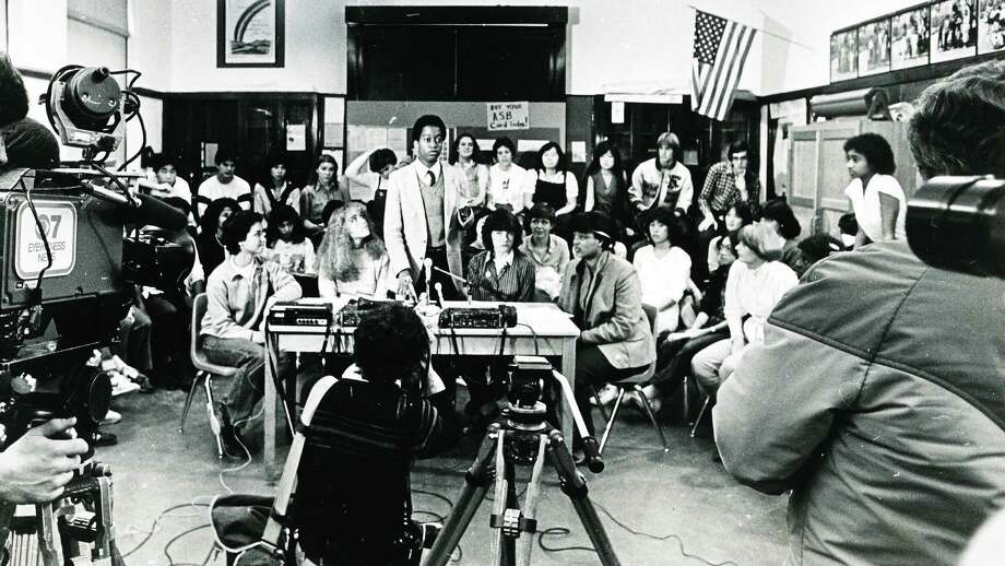 "This photo shows a news conference called by Franklin student government members in 1981. Some ""disturbances"" had occurred at the school, but it's unclear from the original caption what happened.  Photo: -"