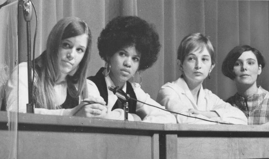 Franklin High School students argue about an abortion bill on Mar. 22, 1969.  Photo: -