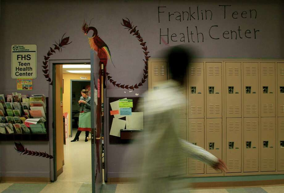 Those lockers. That hallway. The teen health center. Quaker alums, does this photo give you flashbacks? (Franklin's teen health center is pictured in 2007).  Photo: Dan DeLong, - / Seattle Post-Intelligencer