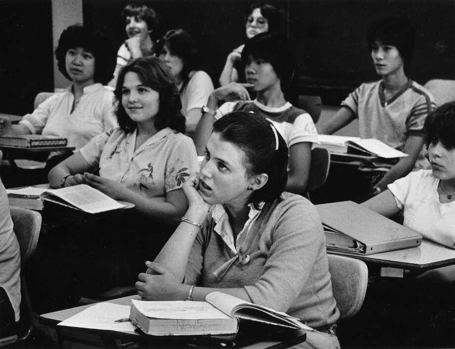 Filling those heads with knowledge at Franklin High School, 1981. Photo: -