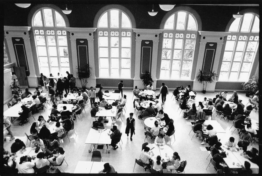 "After Franklin was saved from demolition in the late 80s, it underwent a two-year, $18-million renovation and reopened in 1990. The school's beautiful arched windows are pictured in the ""commons"" area is on Sept. 12, 1990, soon after the school's makeover.  Photo: -"