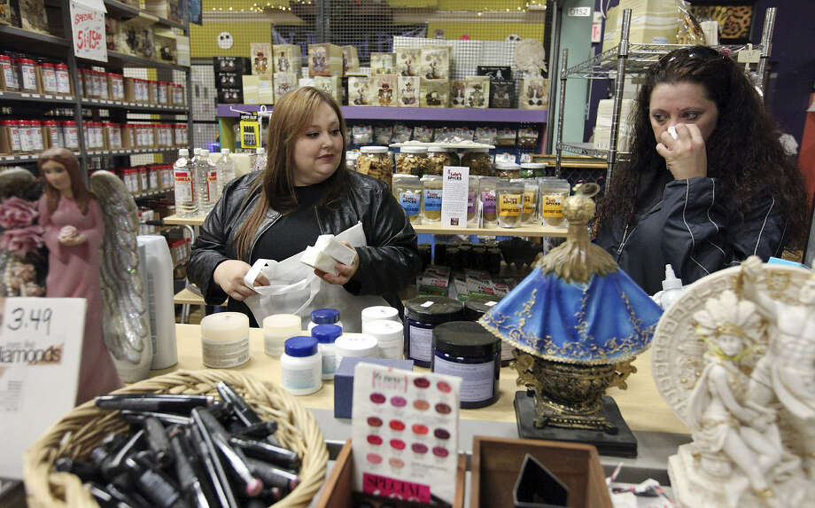 "Loralie Fontenot (left) and Shari Coar shop at Toby's Kitchen in Pica Pica Plaza, where it's ""much calmer,"" says one shopper. Photo: Edward A. Ornelas / San Antonio Express-News"