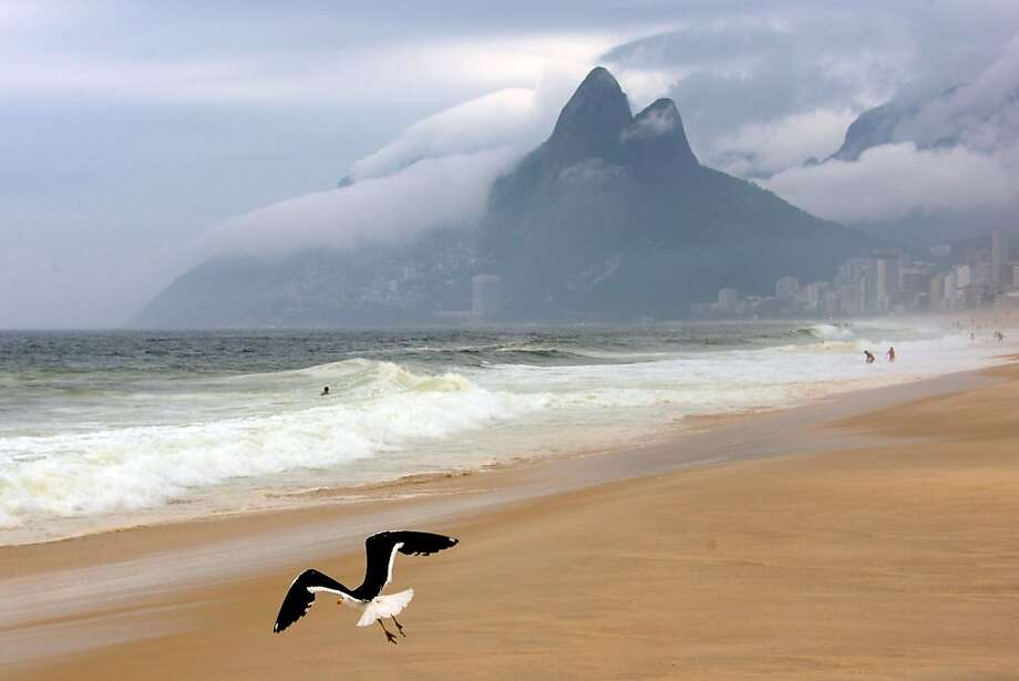 The gull from Ipanema:A seagull flies over Ipanema beach on a cloudy day in Rio de Janeiro. Photo: Christophe Simon, AFP/Getty Images